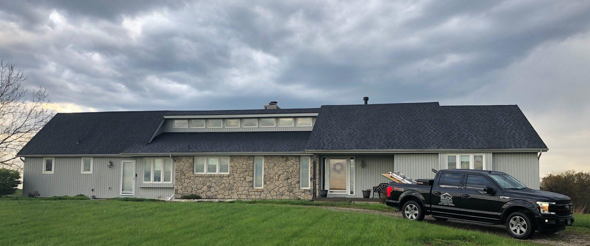 Buck Roofing - Residential Roofing - Kansas and Missouri - Certainteed Landmark - Moire Black - Certainteed Shadow Ridge