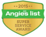 The 2015 Angie's List Super Service Award earned by Buck Roofing for providing quality roofing services in Manhattan, KS, and Kansas City