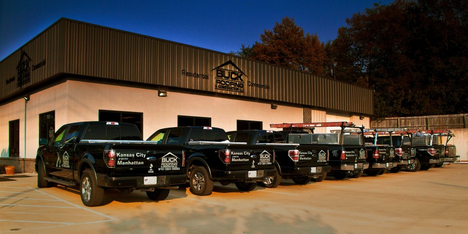 The office building of Buck Roofing with truck ready to provide Kansas City and Manhattan, KS, with roofing installation and repair