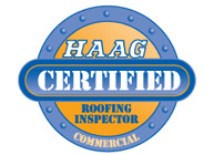 HAAG Certified commercial badge - Buck Roofing is a certified commercial roofing inspector